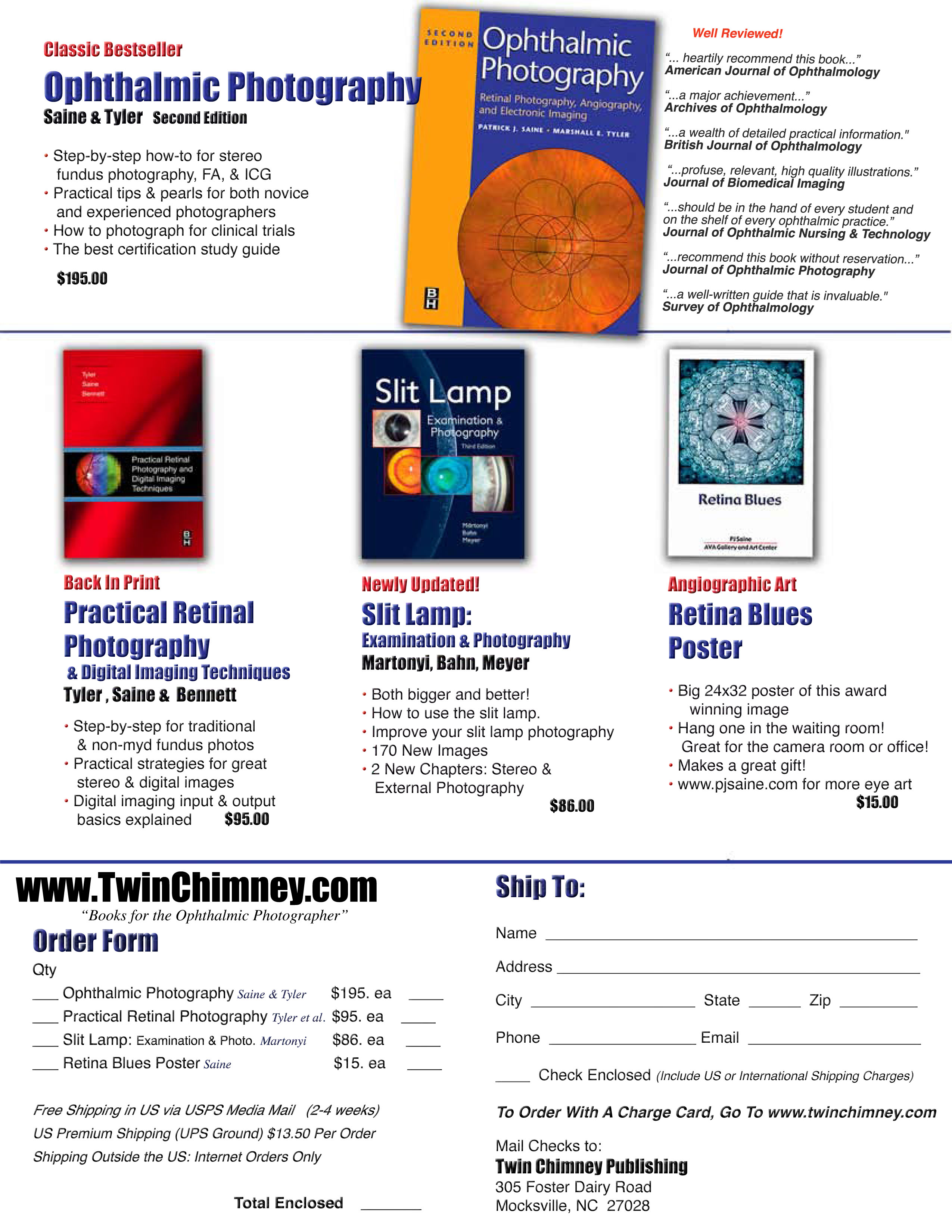 Twin Chimney Publishing: Order form - Books for the Ophthalmic